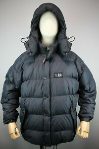 RAR RAB Mens vintag Black Down jacket with a hood Size 2XL