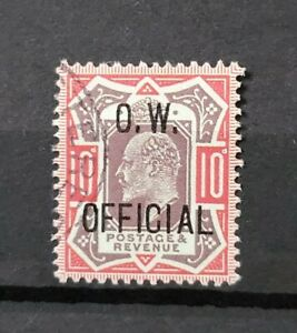 GB KING EDWARD VII SG O40 10D VALUE O.W OFFICIAL VERY LIGHTLY USED, NICE STAMP
