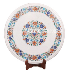 """14"""" White Marble End Round Side Corner Table Top Hakik Inlay Mosaic Floral Gifts"""
