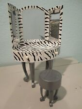 Barbie Bratz Bedroom Furniture Black White Zebra Vanity w/Stool Hard to find