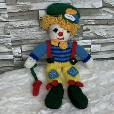 Knit Crochet Clown Colorful Handmade Doll Yarn Hair Fun Stuffed Vintage Toy 16""