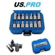 "US PRO Tools 3/8"" dr 14pc Drain Sump Plug Key Set, Engine Gearbox Diff 3225"