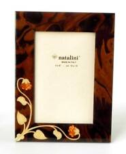 Natalini Marquetry Photo Frame Siena Noce Wood With Mother-of-Pearl Flowers 4x6
