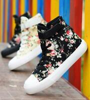Womens Athletic Canvas Floral Lace Up Trainers Sneakers Casual Oxfords Shoes