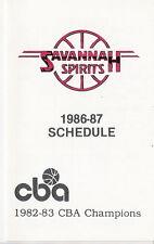 1986-87 SAVANNAH SPIRITS CBA POCKET SCHEDULE - FREE SHIPPING! COOOOL!