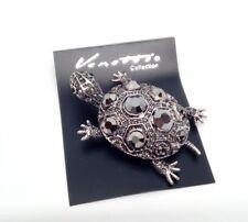 Hematite Silver Tortoise Turtle Brooch