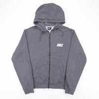 NIKE Grey Casual Full Zip Crest Logo Sports Sweatshirt Hoodie Size Womens XL