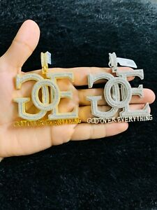 14k Gold Finish GOE God Over Everything Hip Hop Charm Pendant w/ Rope Chain