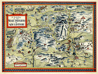 Vintage Pictorial Map White Mountains New Hampshire Wall Art Poster Print Decor