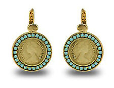 Elizabeth II Coin Pound Gold Plated 24k Dangle Earrings Turquoise Stone