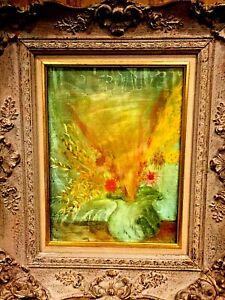 ORIGINAL H/PAINTED OIL ON BOARD STILL LIFE FLOWERS IN VASE by BARBARA HERBERT