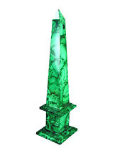 "BUTW Hand Crafted Zaire Africa Malachite 15.5"" Obelisk Healing Lapidary 0734K ab"
