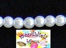 BIGIOTTERIA PERLINE - 60 perle di vetro 8mm - bianco