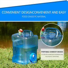 Plastic Water Jug Container 2.5 Gal Slim Carrier Camping Storage Spigot Handle