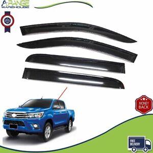Fit Toyota Hilux Revo 17 WINDOW DEFLECTOR VISOR VENT SHADE SUN GUARD BLACK