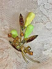 """Vtg Gold Tone Rhinestone Wheat Spray Bouquet  Brooch  2"""""""