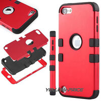 For iPod Touch 6th 5th Gen-HARD & SOFT RUBBER HIGH IMPACT ARMOR CASE RED HYBRID