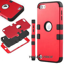 For iPod Touch 6th 5th Gen-HARD & SOFT RUBBER HIGH IMPACT ARMOR CASE HYBRID+Film