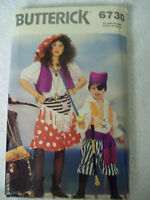 Butterick 6730 CHILD Girl Boy Pirate Swashbuckler Gypsy Costume Pattern UNCUT