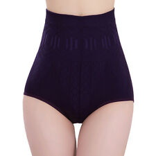 Women Solid High Waist Brief Girdle Body Shaper Slim Tummy Pants Underwear 0hk Purple