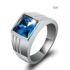 Size 11 Mens Blue Sapphire Zircon Crystal Copper Fashion Wedding Ring Gift