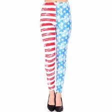 Women's American Flag Printed Leggings Buttery Soft Peach Skin One Size 0-12