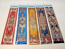 Set of 5 (Five) Miniature Woven Carpet Bookmarks, Kilim Tapestry Turkish Greek