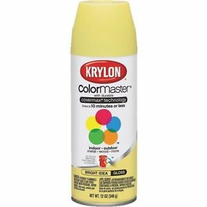 (2 CANS) Krylon Colormaster BRIGHT IDEA YELLOW FAST DRY   SPRAY PAINT HOBBY SHOP