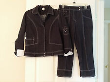 Vex Collection Womens Suit Capri Pants & Jacket Stretch Cotton Dark Gray Sz. 38