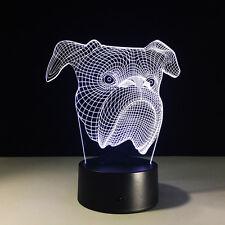 Night Light Acrylic Lamp LED Bulldog Dog Home Deco Lamp Christmas Gift accessory