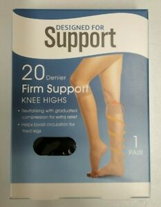 Designed for Support 20 Denier Firm Support Tights - One Size - Black Colour