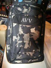 Pottery Barn Teen Get Away Luggage Camo Camouflage black gray mono Avv New