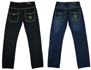 Herren Neue Jamaica Jeans Jamaikanisch Coloued Stiche Design Hose