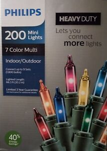 Philips Heavy Duty 200 Multi Mini Lights Green Wire Indoor/Outdoor NEW