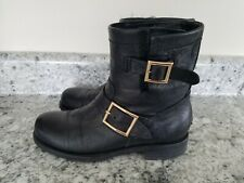 Jimmy Choo London 'Youth' Black Biker Boots Low Ankle $995 Size 36 US 6