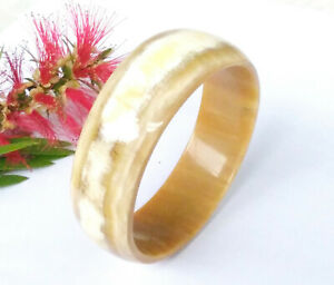 Bangle Bracelet Handmade from Buffalo Horn with Natural Colors