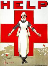 Red Cross, Vintage Poster, HELP, War Propaganda, Nurse Art Print or Canvas Print