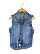 Denim Machine Washable Solid Regular Size Vests for Women