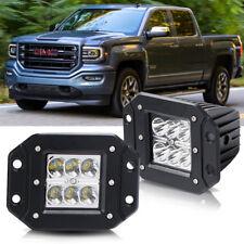 2X 4'' Flush Mount LED Work Light Bar Pod Driving Fog Lamp Truck Offroad Trailer