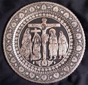 Persian Vintage Metal Decorative Plate 456 Crucifixion of Jesus Christ