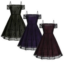 Women Gothic Lolita Lace Off Shoulder Dress Swing Fancy Custome Plus Size XL-5XL