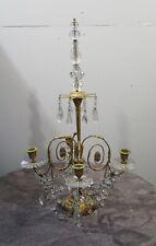 Antique Vintage Dore Bronze Scrolled 4 Arm  Table Candelabra Crystal Fancy