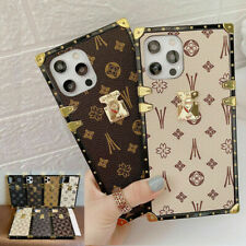 For iPhone Case Luxury Fashion Pattern Leather Soft TPU Square Eye Trunk Cover