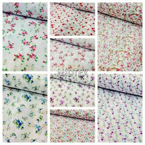 """Vintage  floral ditsy Shabby Chic poly cotton printed fabric 44"""" Wide M341 Mtex"""
