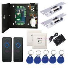 2 Doors Security Access Control Strike Fail Secure NO Lock Power Box RFID Reader