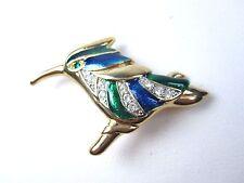La Scala Gold Plated Bird Brooch with Swarovski Crystals & Blue & Green Enamel