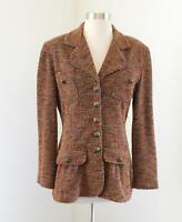 Vtg Joseph Ribkoff Creations Tan Multi Color Tweed Blazer Jacket Size 4