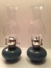 2 LAMPLIGHT FARMS ROUND HOBNAIL BLUE GLASS OIL LAMP 13""