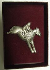Race Horse And Jockey Silver Plate Brooch In Gift Box