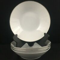 Set of 4 VTG Soup Bowls by Noritake Reina White Floral Platinum Trim 6450Q Japan